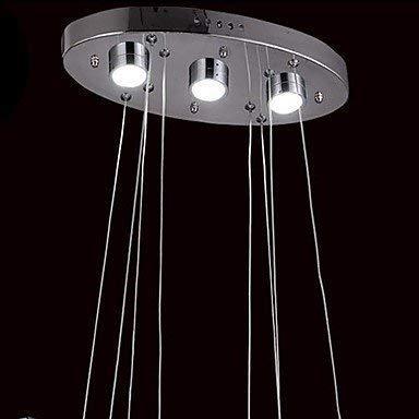 BOSSLV Esszimmer Flur Led Pendelleuchte Kronleuchter Zwei Ring Edelstahl Kristall mit Fernbedienung, Kaltweiß-220-240V -