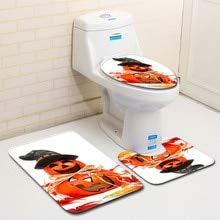 nft 3 stücke Happy Halloween Wc Fuß Pad Sitz Abdeckung Nicht-Slip Badezimmer Sets Sockel Teppich + Deckel wc Abdeckung ()