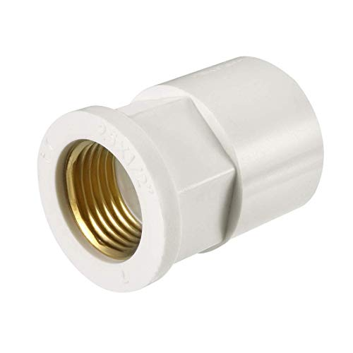 ZCHXD 25mm Slip x 1/2 PT Female Brass Thread PVC Pipe Fitting Adapter 2 Pcs -