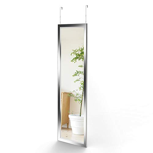 Dripex Wandspiegel 33x109cm Spiegel unbrechbarer Garderobenspiegel Flurspiegel höhenverstellbarer Hängespiegel mit Haken (Silber)