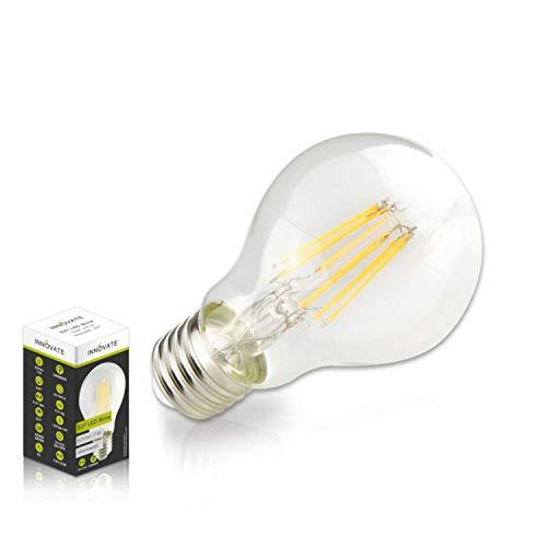 INNOVATE E27 LED Filament Glühfaden Lampe Birne / 7 Watt - Ersatz für 50W Glühlampe, Glas, warmweiss - 2700K, 600 Lumen, 360° Abstrahlwinkel -