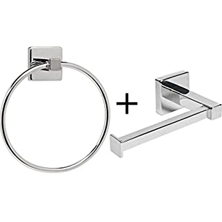 Home Treats Silver Square Bathroom Toilet Roll Holder & Towel Ring Set
