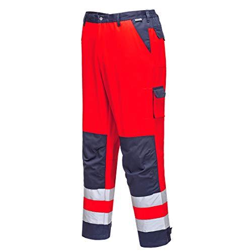 Portwest TX51 Pantaloni Lyon Alta Visibilità, Rosso/Navy, M