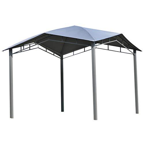 Outsunny Gartenpavillon Pavillon Überdachung Vordach Sonnenschutz Partyzelt Laube Metall + Polyester Grau 3 x 3 m (Pavillon überdachung)