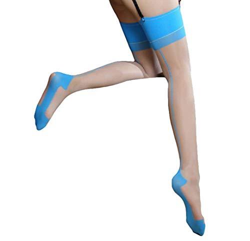 Blau Schwarz Überprüfen (CIPOPO Frauen Perspektive Strapshalter Strapse Dessous Oberschenkel Highs Strumpfgürtel Lingerie Strumpfhose für Strumpfgürtel und Hosenträger Gürtel (schwarz Blau, Einheitsgröße))