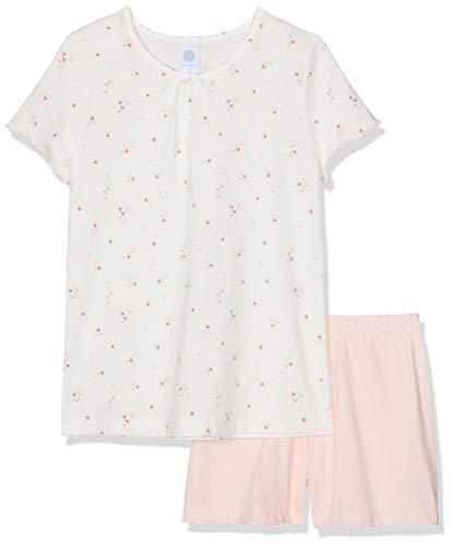 Sanetta Mädchen Pyjama Short Zweiteiliger Schlafanzug, Beige (Broken White 1427), 128 - Mädchen Lacrosse Shorts
