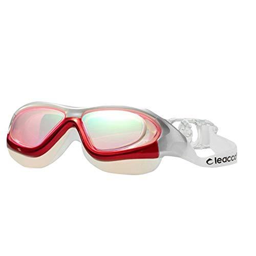 Schwimmbrille, Schwimmbrille mit Antibeschlag und UV Schutz, Schwimmbrille mit Überzug für Männer und Frauen mit flachem Licht und wasserdichter Anti-Fog-Schutzbrille für Erwachsene, rot