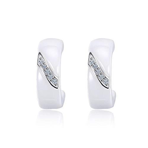 ZHWM Ohrringe Ohrstecker Ohrhänger 925 Sterling Silber Ohrringe Für Frauen Schmuck Elegante Weiße Keramik Ohrringe Mit Zirkonia -