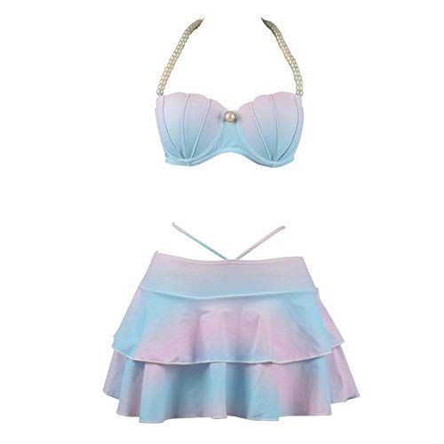 Frau Badeanzug Shell Perle Split Typ Badeanzug Hohe Taille Sie Triangel Bikini Meerjungfrau Rock Sommer Strand Badeanzug (Color : Colour, Size : M) - Perlen Bikini-badeanzug