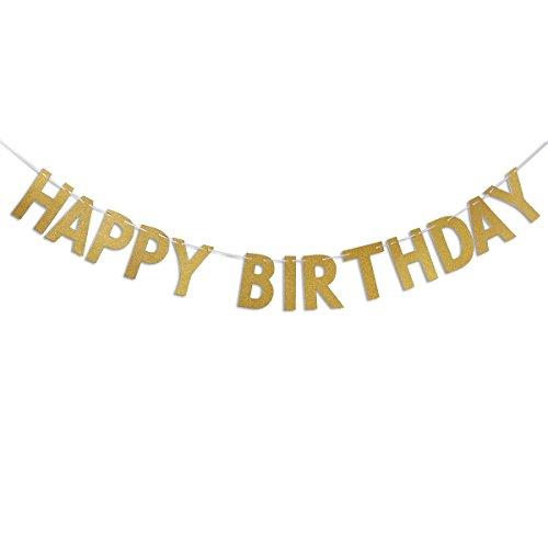 OULII Alles Gute zum Geburtstag Glitter Gold Girlande Fahne Flagge Banner für Geburtstag Party Dekoration (Glitter Happy Banner Birthday)