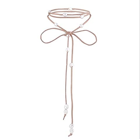 Caiyan Pearl bow fringed velvet rope long necklace , Brown