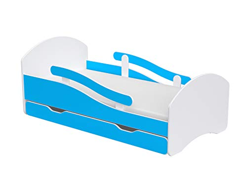 Lendo Kinderbett Juniorbett Bett 160x70 cm mit Matratze und Schublade Serie umbaubar ... (blau) -