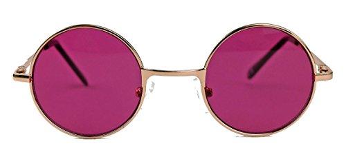 Kleine runde Retro Sonnenbrille im 60er Jahre Look Metallrahmen Vintage Look SLR (Cassis)