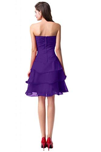 Sunvary Suess Herzform Neu 2015 Chiffon Applikation Falte Abendkleid Kurz Cocktailkleid Violett