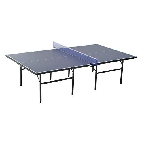 Homcom Mesa de Ping Pong Plegable con Red 152.5x274x76cm Tenis de Mesa y Material de Acero y MDF en Color Azul