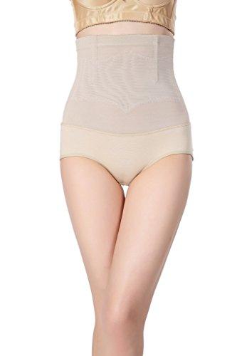 Smile YKK Culotte Gainante Femme Lingerie Sculptante Amincissant Taille Haute Abricot