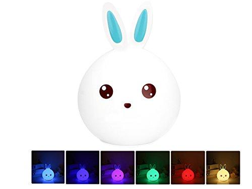 Luz De Lla Noche Del Color Del Silicón, Chickwin Luz de Noche Sensor Tactil Caricatura Silicona LED USB Recargable Luz Nocturna (Conejito azul)