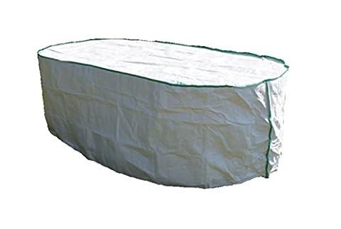 Gartentisch Abdeckung oval exklusiv in Tyvek weiss mit Lagerbeutel für Tisch-Abdeckung 150x100x75