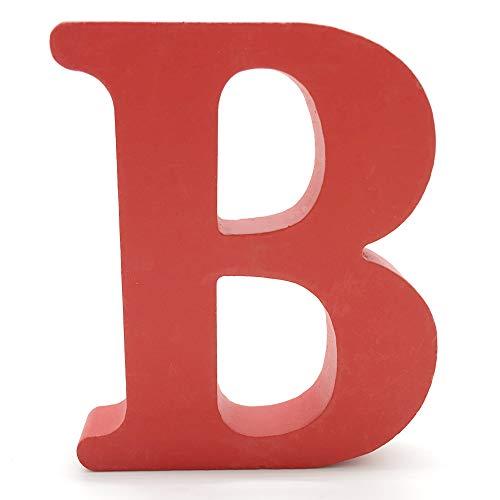 Lettres en Bois, Toifucos 10cm A-Z DIY Alphabet Anglais Ornaments D'artisanat pour Accueil Mariage Anniversaire Décoration de fête Accessoires, Rouge 1 pcs B