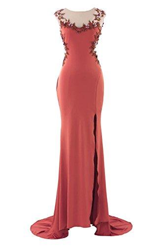 YiYaDawn Langes Ballkleider Abendkleider mit Schlitz für Damen Orange
