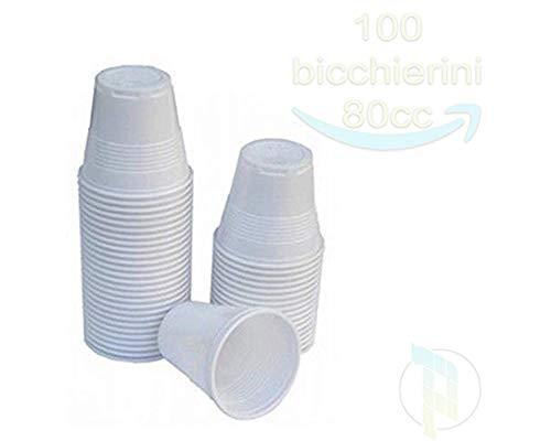 Palucart 100 bicchierini caffe bicchiere plastica bianco 80cc bar macchina del caffè bicchieri plastica