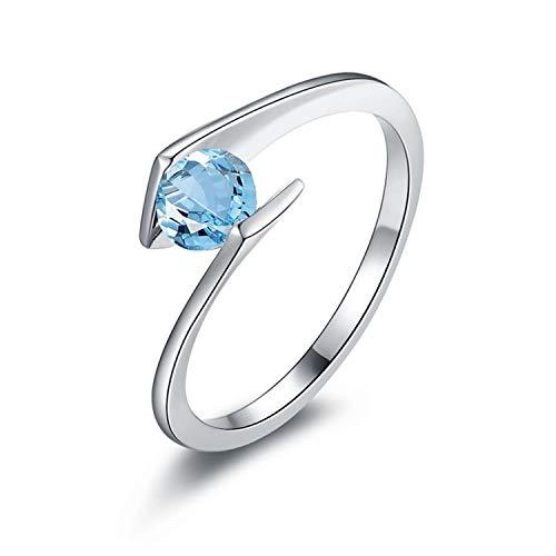 AmDxD 925 Silber Damen Ringe Solitärring Verlobungsringe Silber mit Blau Topas Gr.63 (20.1)