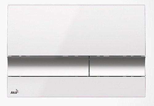 Drückerplatte für WC Vorwandelemente WC-Spüle Farbe Weiss/ Chrom glänzend 3L/6L Betätigungsplatte Platte Betätigungstaste