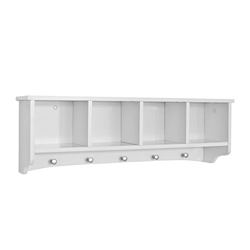 SoBuy® FRG48 L W, White Wall Display Storage Unit With 4 Components 5 Hooks,  Wall Coat Rack Bathroom Kitchen Cupboard