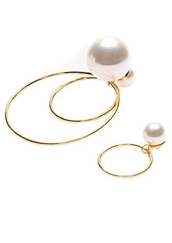 Happiness Boutique Femmes Boucles d'Oreilles Asymétriques en Couleur Or   Boucles d'Oreilles Créoles avec Fausses Perles Blanches
