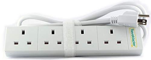 Reise Adapter USA/Amerika Netzsteckerleiste Multi Safe Verlängerungskabel 4 Eingänge Ultrakompaktes Kabel für Urlaub 3-poliger geerdeter Typ B-Stecker 4 Typ G-Buchsen 1.5 m Weiß -