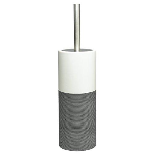 Sealskin 361840514 WC-Bürstengarnitur Doppio Badaccessoire, Porzellan, grau, 10,1 x 10,1 x 38,3 cm