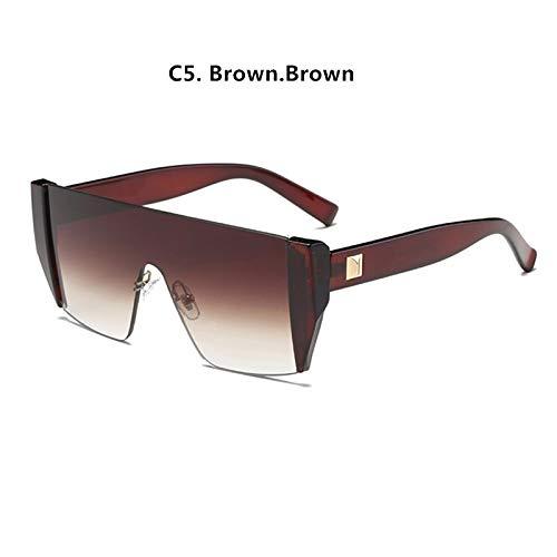 Sonnenbrille Damen Vintage Street Avantgarde Small Frame Sonnenbrille Herren Outdoor Persönlichkeit Sonnenbrille (Frame Color : NO CASE, Lenses Color : C5 Brown.Brown)