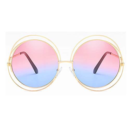 BlueAurora Frauen runde Sonnenbrille, stilvolle UV400 Metallrahmen Sonnenbrille für Damen Alltag und Freizeit,Pink3