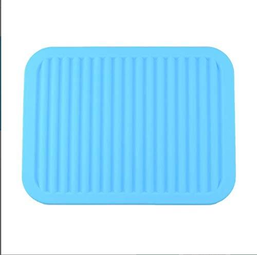 Leisial Dessous de Plat en Silicone Tapis de Table Antidérapant Anti-Échaudage Sets de Table Carré Isolation pour Salle à Manger(Bleu