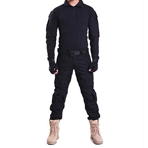 HRS Herren Tactical Camouflage Anzug Camo Uniform Outdoor Jagd Trekking Camping Militär Kampfanzug, schwarz 1, Large