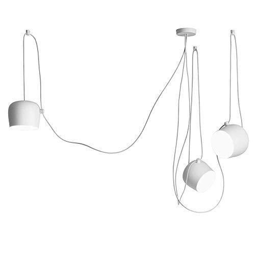 LQUIDE Moderne DIY Pendelleuchte Kreative Höhenverstellbare Winkel Kabel 200 cm Pendelleuchte Schlafzimmer Wohnzimmer Insel Küche Esstisch Büro Bar Loft Loft Kronleuchter, weiß -