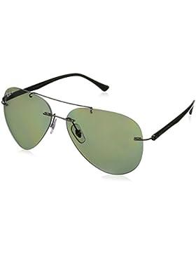 Ray-Ban occhiali da sole senza montatura aviator in gunmetal verde polarizzata RB8058 004/9A 59