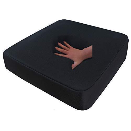 Visco Sitzkissen / Visko Anti Dekubitus Sitzpolster 52 x 45 x 10 cm SCHWARZ Memory Schaum für Rollstuhl / Stuhl / Auto / LKW / Bürostuhl / Chefsessel Kissen viscoelastisches Stützkissen Rücken + Gesäß (RG 85 (mittel)) -