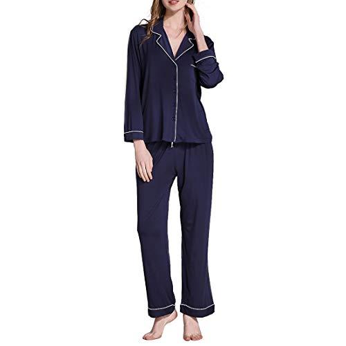 Yajiemei Frauen weiche Nachtwäsche Langarm Stricken Pyjama Set mit Hosen Plus Größe (Color : Navy Blue, Size : S)
