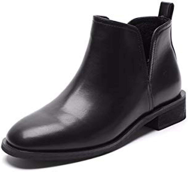 KOKQSX-Signore Gli Stivali di Cuoio Testa rossoonda Moda Breve Stivali Chelsea stivali. 37 nero | Qualità e consumatori in primo luogo  | Uomini/Donna Scarpa