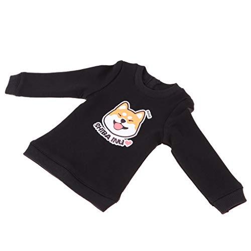 P Prettyia Puppen Herbst Kleidung - Rundhals Langarm gedruckt Sweatshirt Pullover Tops - Outfit Für 1/4 Msd Bjd Puppe - Schwarz, #1