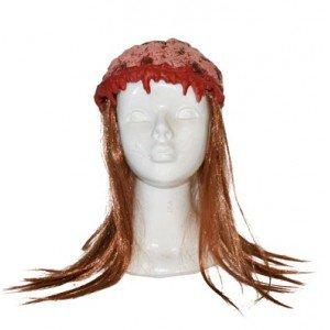 mit Haaren (Zombie Gehirn Kopfbedeckung Erwachsene)