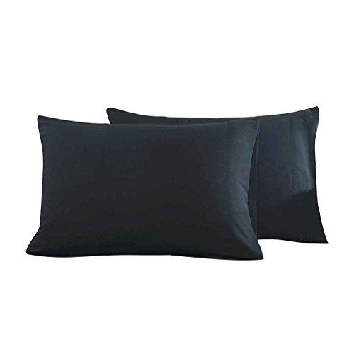 Lidahaotin 2pcs Umschlag Typ Pillowcase Fest Polyester Rechteck Schlafzimmer Kissenbezug Home Office-Kissen-Schutz-Fall Schwarz 51 * 76cm -