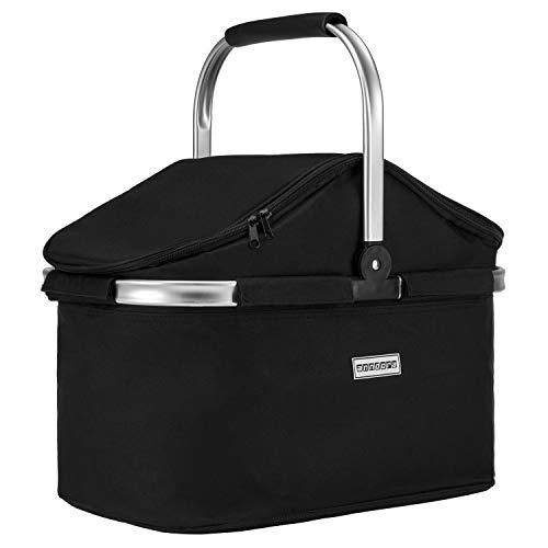 anndora Einkaufskorb 25 Liter Isolierkorb Picknick Kühlkorb - schwarz