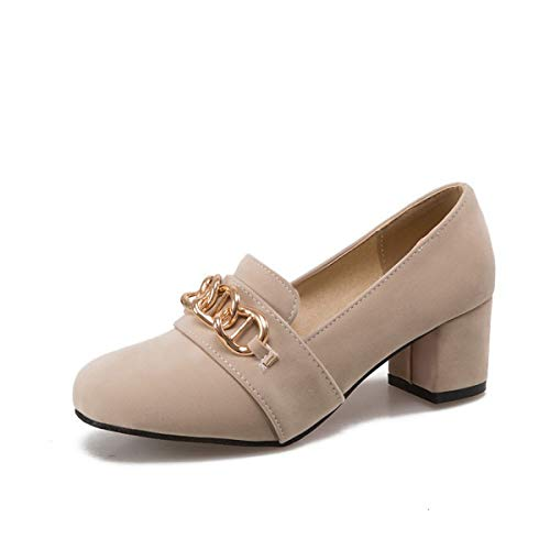 GDXH Neue Schuhe,Womens Flat Shoes Low-Heels Shallow Mouth Heels Square Heel Shoes Thick Heel Shoes Suede Persönlichkeit Beautifully Fashion Shopping oder Party,C,39EU Neue Womens Flat