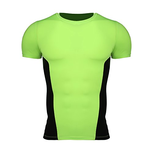 Männer Surfing Shirt Schnelles Trockenes Fahrrad-Hemd Radfahren Oberseiten-Zyklus-Hemd Sport-Trainning-T-Shirt Neongrün + Schwarzes M