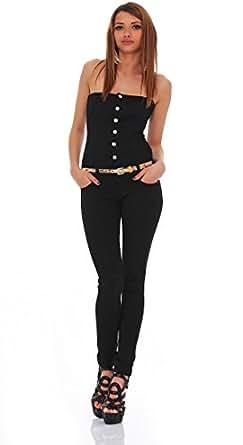 10306 Fashion4Young Damen Bandeau Jumpsuit jeans Overall Hosenanzug Hose in Schwarz 5 Größen (S=36, Schwarz)