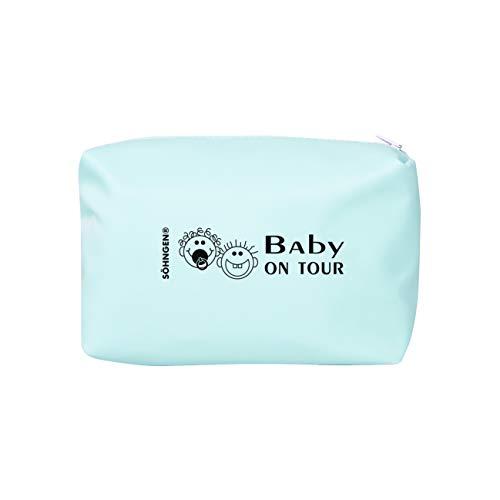 Söhngen Erste-Hilfe-Tasche Baby on Tour blau (Reisverschlusstasche für Kleinkinder; beschichtetes Nylongewebe; robust; mit Fieberthermometer, Schnuller, Verbandmaterial, Beißring) 0350007b