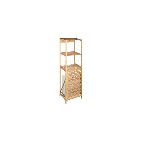 Mobile con 2 ripiani + cesto per biancheria in bambu - stile esotico - colore: legno