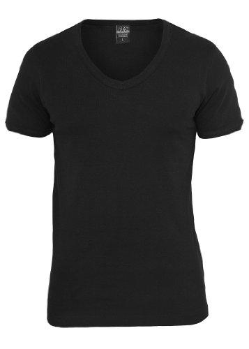 Urban Classics Slim 1by1 V-Neck T-Shirt, black Black